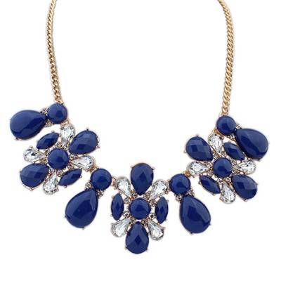 Platinum sapphire blue flower shape decorated design alloy Bib Necklaces