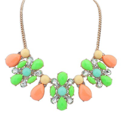 Fancy multicolor flower shape decorated design alloy Bib Necklaces