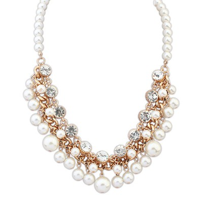 Rolling white pearls weave decorated design alloy Beaded Necklaces