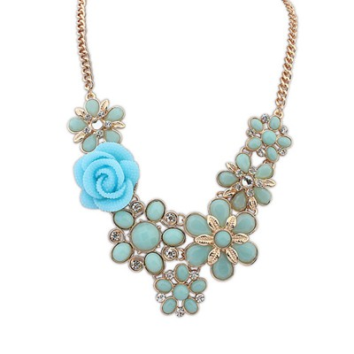 Quicksilve light blue rose flower decorated design alloy Bib Necklaces