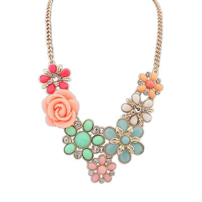 Childrens multicolor rose flower decorated design alloy Bib Necklaces