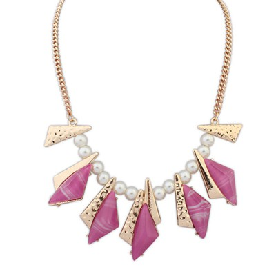 Lucky purple geometrical shape design alloy Bib Necklaces