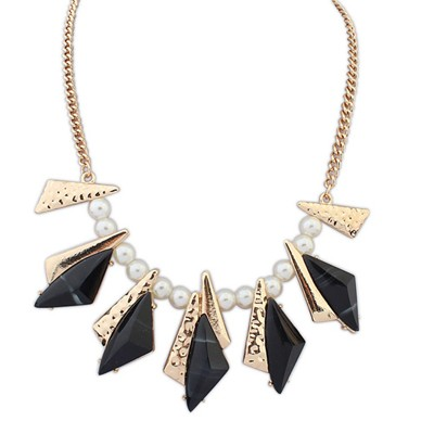 Bespoke blcak geometrical shape design alloy Bib Necklaces
