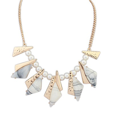 Hemming beige geometrical shape design alloy Bib Necklaces