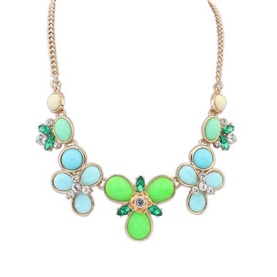 High green flower shape decorated design alloy Bib Necklaces