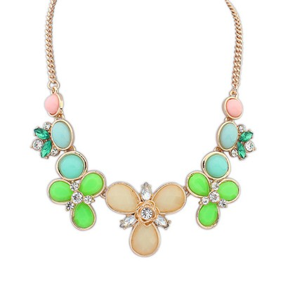 Butterfly jelly white flower shape decorated design alloy Bib Necklaces
