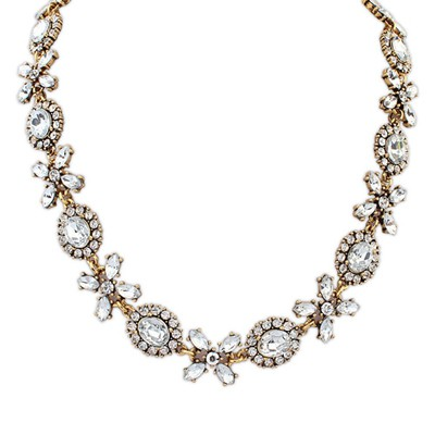 Ultra gold color CZ diamond decorated simple design alloy Bib Necklaces