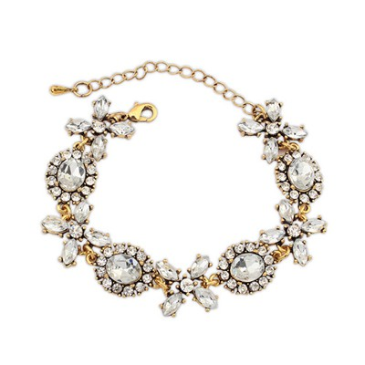 Fantasy gold color CZ diamond decorated simple design alloy Korean Fashion Bracelet