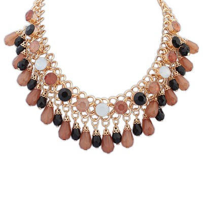 Aamazing coffee beads weave water drop shape decorated alloy Bib Necklaces