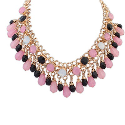 Handcrafte pink beads weave water drop shape decorated alloy Bib Necklaces