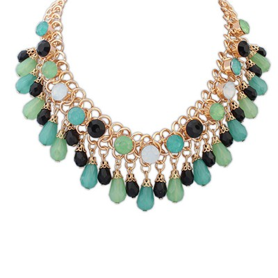 Easter multicolor beads weave water drop shape decorated alloy Bib Necklaces