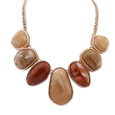 Human coffee geometrical shape design alloy Bib Necklaces