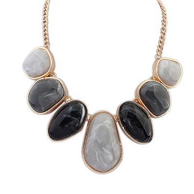 Misses gray geometrical shape design alloy Bib Necklaces