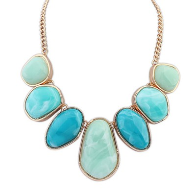 Casual light green geometrical shape design alloy Bib Necklaces