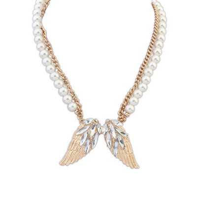 Expired gold color pearls decorated wings design alloy Bib Necklaces