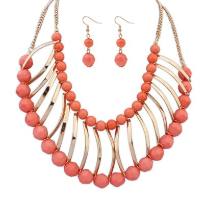 Montgomery peach red metal strip decorated double layer design alloy Jewelry Sets