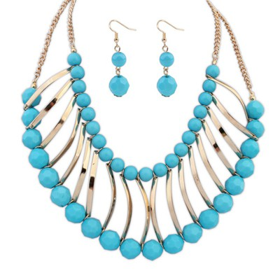 Ferret blue metal strip decorated double layer design alloy Jewelry Sets