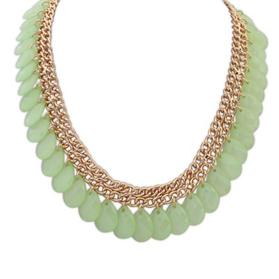Autism light green tassel water drop shape design alloy Bib Necklaces