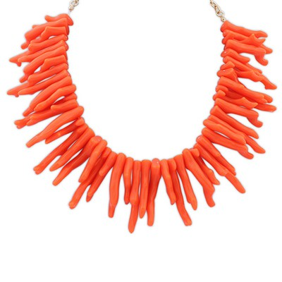 Real orange irregular geometrical shape design alloy Bib Necklaces