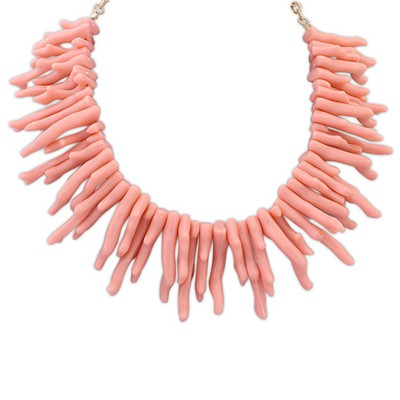 Wholesale pink irregular geometrical shape design alloy Bib Necklaces