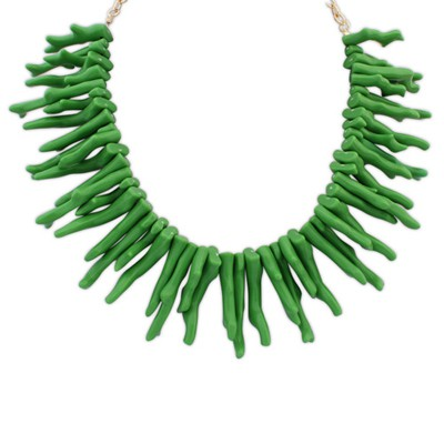 Physical green irregular geometrical shape design alloy Bib Necklaces