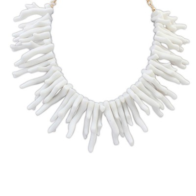 Used white irregular geometrical shape design alloy Bib Necklaces