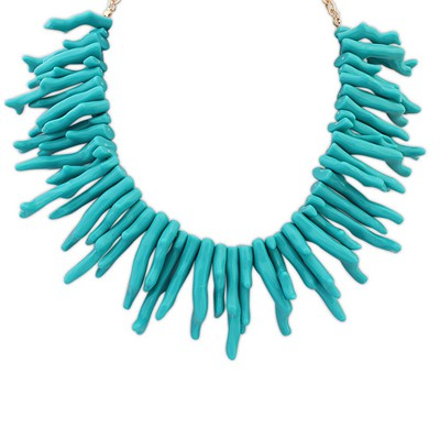 Fashionabl blue irregular geometrical shape design alloy Bib Necklaces