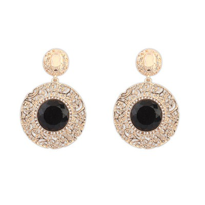 Order black gemstone decorated hollow out design alloy Korean Earrings
