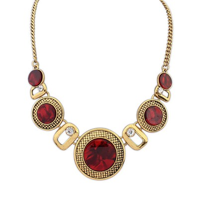 Buckle red gemstone decorated simple design alloy Bib Necklaces