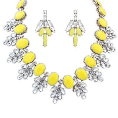 Stronglite yellow acrylic stone decorated sweet design alloy Jewelry Sets