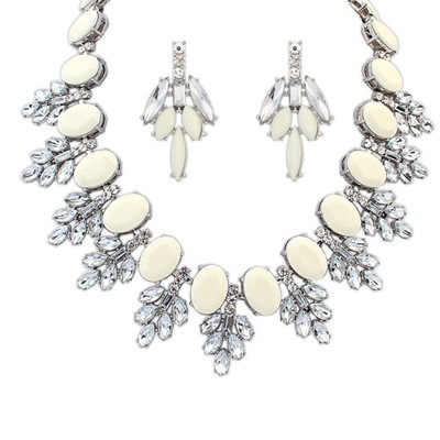 Deathly beige acrylic stone decorated sweet design alloy Jewelry Sets