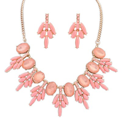 Hydraulic pink acrylic stone decorated sweet design alloy Jewelry Sets