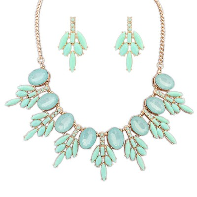 Tory light green acrylic stone decorated sweet design alloy Jewelry Sets