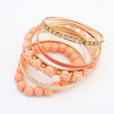 Micro orange rose flower decorated multilayer design alloy Fashion Bangles
