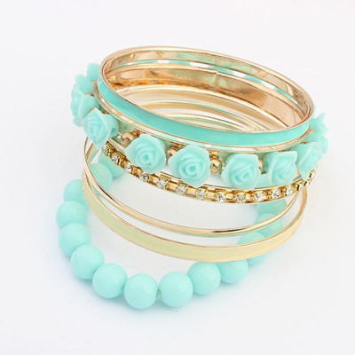 Modern blue rose flower decorated multilayer design alloy Fashion Bangles