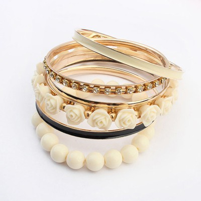 Smart beige rose flower decorated multilayer design alloy Fashion Bangles