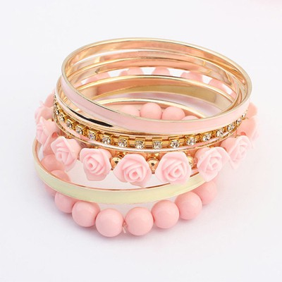 Magic pink rose flower decorated multilayer design alloy Fashion Bangles