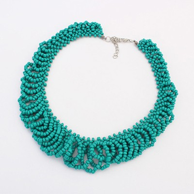 Varsity peacock blue beads weave design alloy Beaded Necklaces