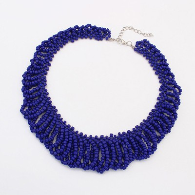 Pantsuit sapphire blue beads weave design alloy Beaded Necklaces