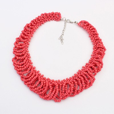 Modern peach red beads weave design alloy Beaded Necklaces