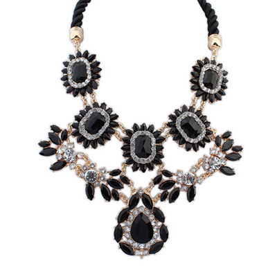 Screw black gemstonedecoratedflowerdesign alloy Bib Necklaces