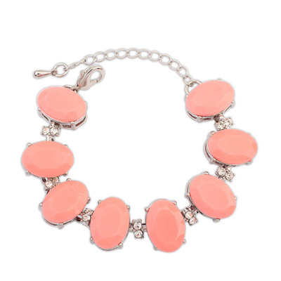 Dickie plumred gemstonedecoratedovalshapedesign alloy Korean Fashion Bracelet