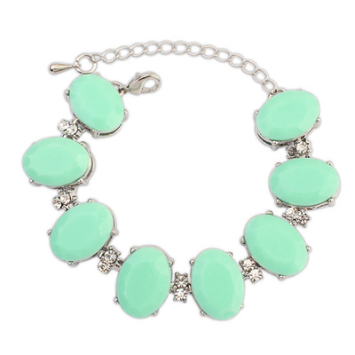 Pierced lightgreen gemstonedecoratedovalshapedesign alloy Korean Fashion Bracelet