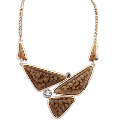Religious coffee gemstonedecoratedtriangleshapedesign alloy Bib Necklaces