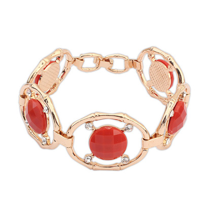 Butterfly red gemstonedecoratedhollowoutdesign alloy Korean Fashion Bracelet