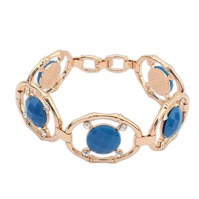 Carters blue gemstonedecoratedhollowoutdesign alloy Korean Fashion Bracelet