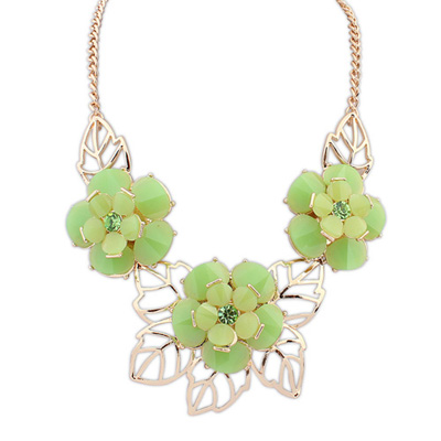 Legal green gemstonedecoratedflowerdesign alloy Bib Necklaces
