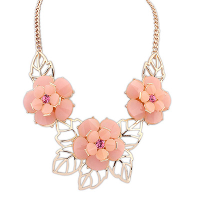 Players pink gemstonedecoratedflowerdesign alloy Bib Necklaces