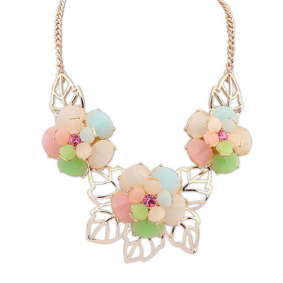 Screw multicolor gemstonedecoratedflowerdesign alloy Bib Necklaces