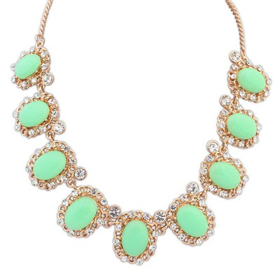 Colorful light green gemstone decorated simple design alloy Bib Necklaces